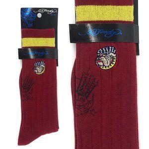 ED HARDY Embroidered Bulldog Crew Socks